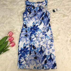 Chaps Floral Sheath Fitted Dress Career Sleeveles
